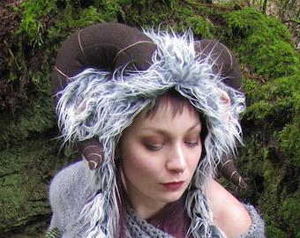 Ram Horns and Ears Soft Sculpture Hat