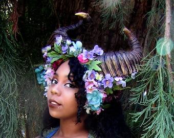 Dynamic Maenad Ram Horn Headdress