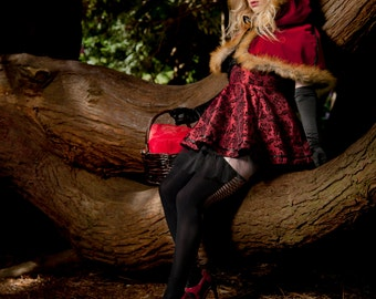 Little Red Riding Hood Flocked Demask Taffeta Skirt