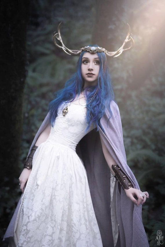 Gilded Faun Rainbow Moonstone & Antler Crown