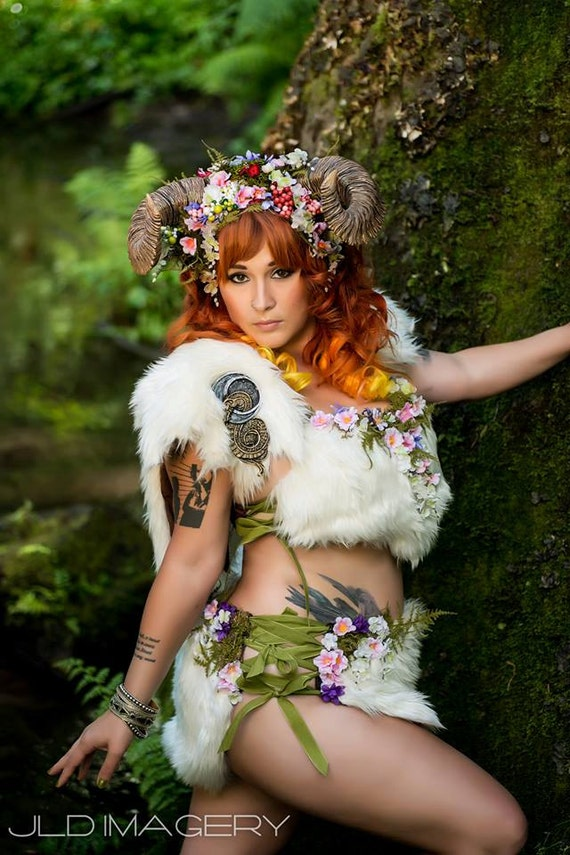Woodland Nymph Corset Lacing Skirt with Moss and Flowers