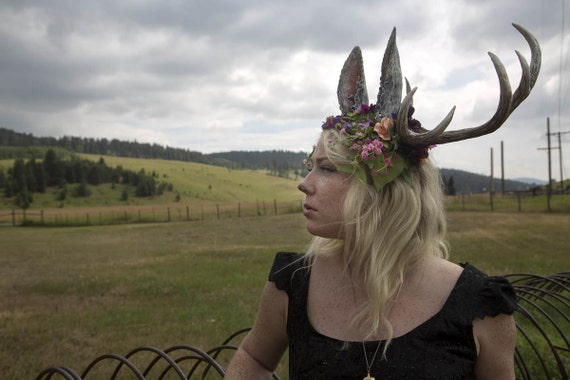 Jackalope 10 Point Antler Moss and Flower Headdress