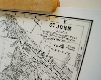 St. John Harbour New Brunswick Canada - Antique Map Print Eco Bamboo paper Made in Canada! East Coast Maritimes YSJ