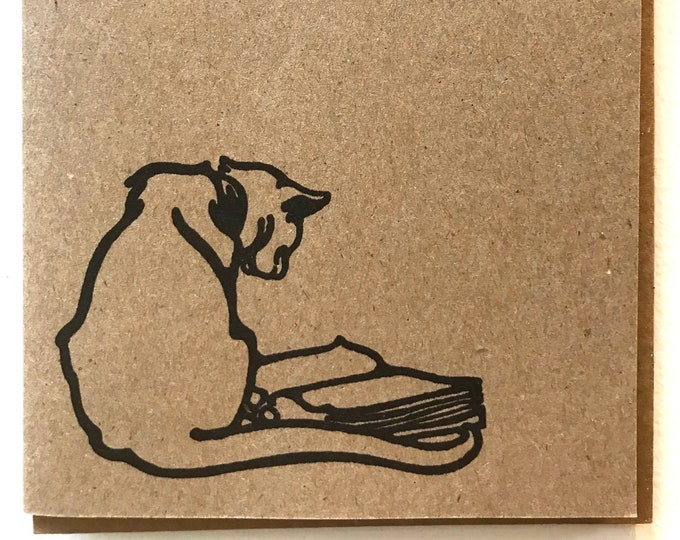 Reading cat vintage kraft card, blank, made in Canada, recycled, wholesale available, antique, old fashioned, stationery, writing, book
