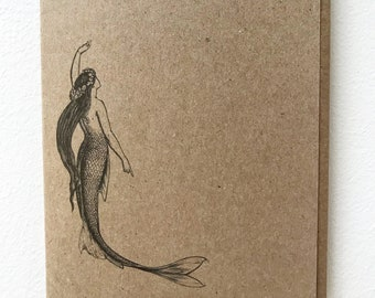 Mermaid Vintage Kraft Card, blank, made in Canada, recycled, wholesale available, antique, old fashioned, ocean, sea, marine