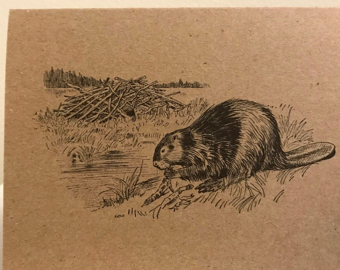 Beaver, vintage kraft card, blank, made in Canada, recycled, wholesale available, antique, old fashioned, stationery, writing, Canadian