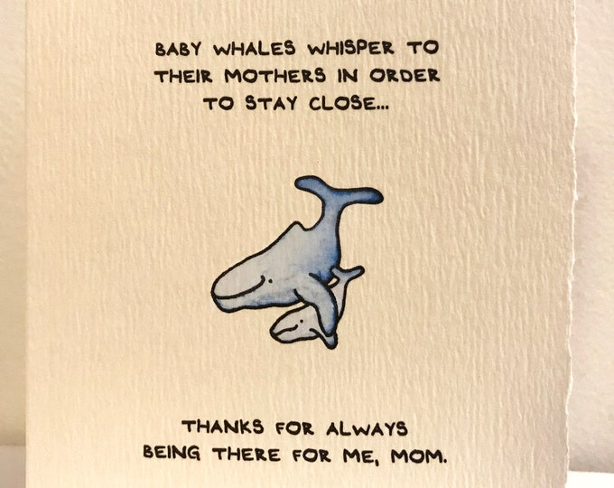 Mother's Day Card Cute Wishes Nature Whale Babies Sweet for Her Mom Adorable Made in Canada Toronto Wholesale Science Facts Marine Ocean