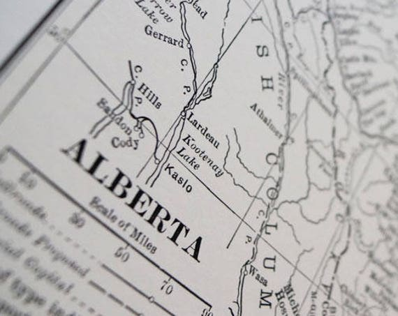Alberta Antique Map Print on Eco Bamboo paper Canadian Made in Canada Prairies Prairie Central Province Canada central cartography