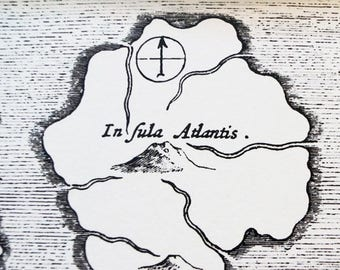 "Atlantis antique Print on eco Bamboo paper with textured edge Made in Canada! 11"" x 17"" & 8.5"" x 11"" history Plato island"