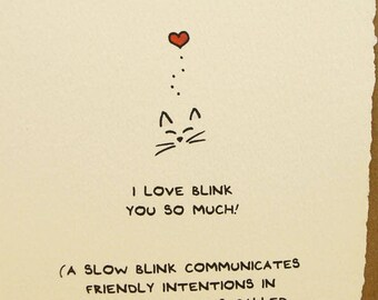 Love Card Cute Cats Love Blink Wishes Nice Sweet Friend Funny Adorable Made in Canada Toronto Wholesale Love Affiliative Blink