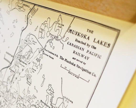 Old map of Muskoka Lakes Ontario antique map print on eco bamboo paper Canadian made in Canada souvenir Ontario Muskoka Manitoulin Lake