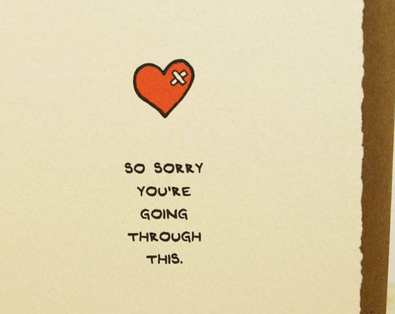 So Sorry You're Going Through This Greeting Card Cute Adorable paper made in Canada Toronto heart band aid bandage hurt