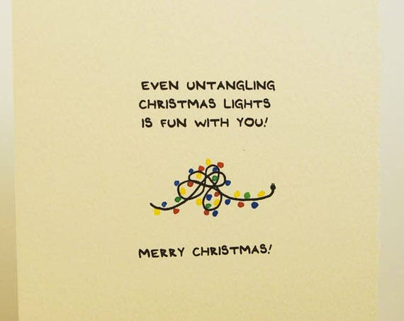 Even Untangling Christmas Lights Is Fun With You! Christmas Card Season's Greetings Merry Christmas Cute paper made in Canada Toronto simple