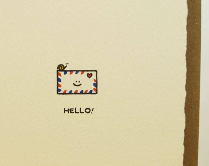 Hello Snail Mail Envelope Cute Happy Stationery Sweet Fun Friend Adorable Made in Canada Toronto Wholesale Stationery Air Mail