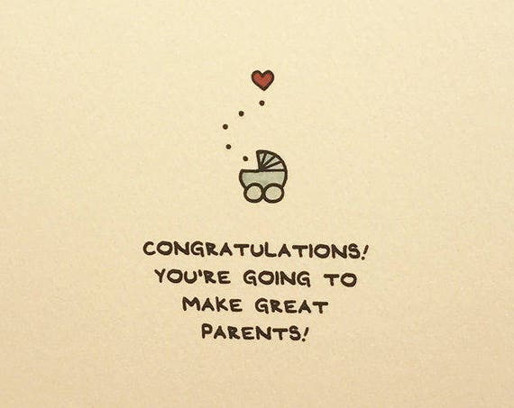 Congratulations! You're Going To Make Great Parents! Greeting Card Cute made in Canada baby newborn carriage stationery expecting enfrancais