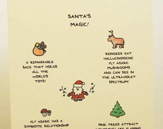 Santa's Magic Facts Christmas Card Season's Greetings Merry Christmas Cute paper made in Canada Toronto simple