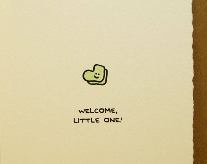 Welcome, LIttle One! Greeting Card Cute Adorable paper made in Canada Toronto illustration new baby newborn baby socks stationery expecting