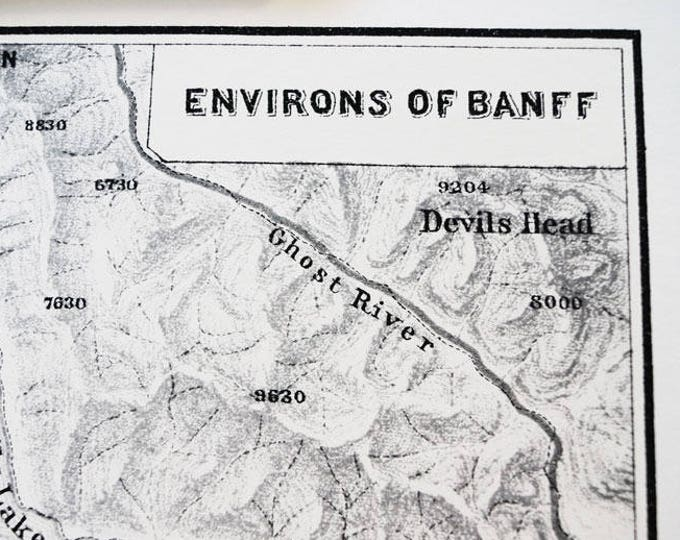 Environs of Banff, Alberta, Canada Antique Map Print on Eco Bamboo paper Canadian Made in Canada Prairies Central Province Banff Park