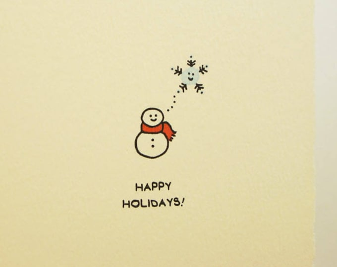 Happy Holidays! Snowman Snowwoman Snowperson Holiday Card Cute paper made in Canada Toronto simple snowflake