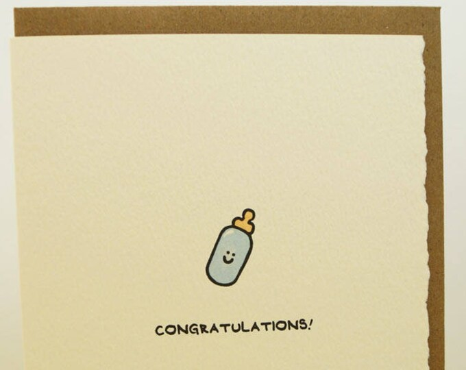 Congratulations! Greeting Card Cute Adorable paper made in Canada Toronto illustration new baby newborn baby bottle stationery expecting