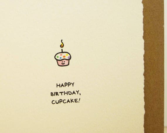 Happy Birthday, Cupcake Card Cute Birthday Wishes Nice Sweet for Her Mom Sister Friend Adorable Edge Made in Canada Toronto Wholesale Kids