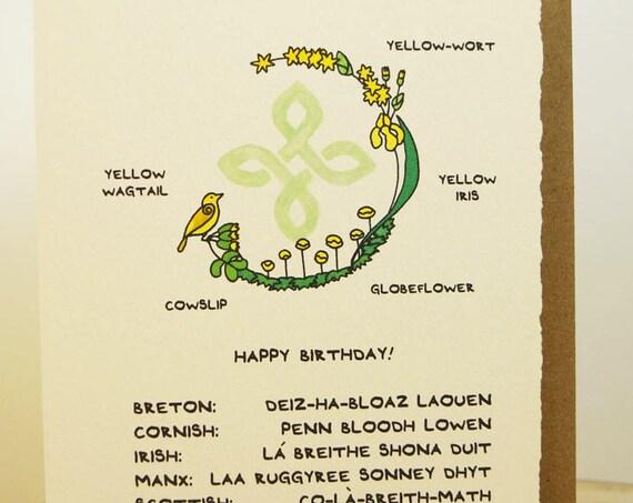 Celtic Happy Birthday! greeting card cute adorable made in Canada celtic Breton Cornish Irish Manx Scottish Welsh Isles st. patrick's day