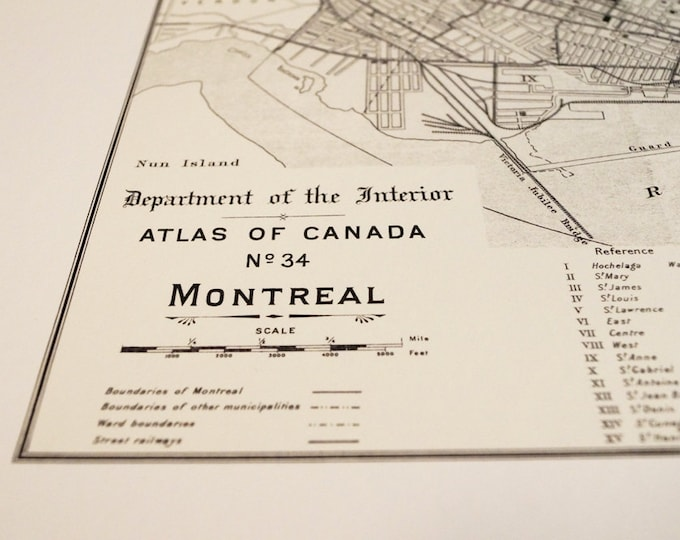 Old map of Montreal antique map print on eco bamboo paper Canadian made in Canada souvenir Quebec YUL Francais la belle province