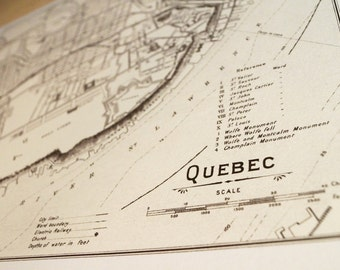 Old map of Quebec City antique map print on eco bamboo paper Canadian made in Canada souvenir Quebec YQB Francais la belle province