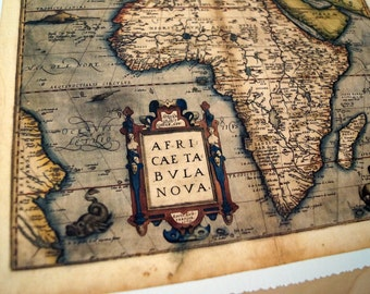 "Africa - Antique Map Print on Eco Bamboo paper with textured edge - Made in Canada! 8.5"" x 11"" & 11"" x 17"""