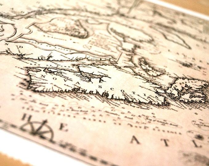 East Coast 2 - Antique Map Print on Eco Bamboo paper textured edge Made in Canada Maritime Newfoundland Quebec New Brunswick PEI Nova Scotia