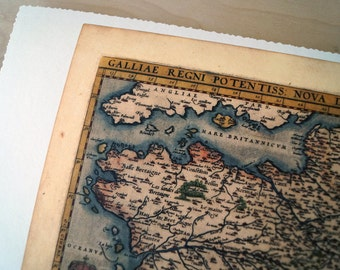 """France - Antique Map Print on Eco Bamboo paper with textured edge - Made in Canada! 11"""" x 17"""" History Old Map Gallia"""
