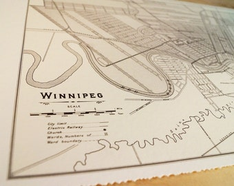 Old map of Winnipeg antique map print on eco bamboo paper Canadian made in Canada souvenir YWG Manitoba prairies central Canada