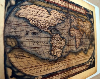 """World - Antique Map Print on Eco Bamboo paper Made in Canada! 11"""" x 17"""" Cicero Planet Old Map Continents History"""