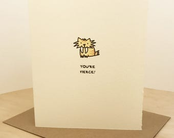 You're Fierce! Sabertooth Greeting Card Cute Friendship Support Girl Power Made in Toronto Canada Encouragement Animal Lover enfrancais