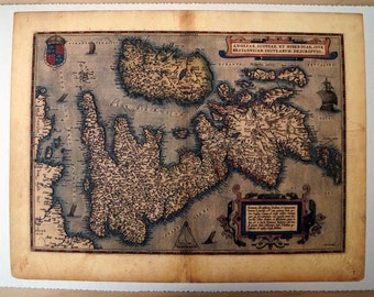 "United Kingdom & Ireland - Antique Map Print on Eco Bamboo paper with textured edge - Made in Canada! 11"" x 17"" History Old Map England"