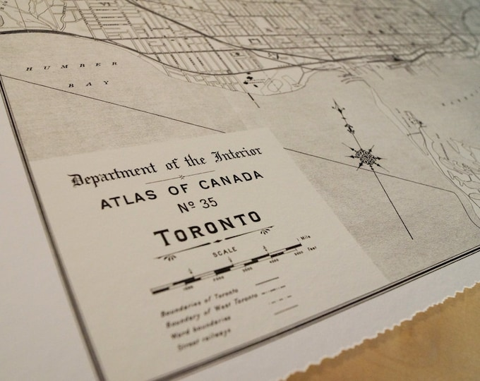 Old map of Toronto antique map print on eco bamboo paper Canadian made in Canada souvenir Ontario YYZ