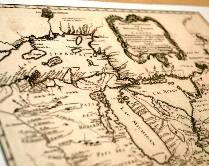 Great Lakes Canada - Antique Map Print on Eco Bamboo paper with textured edge - Made in Canada! Ontario Huron Michigan Erie Superior