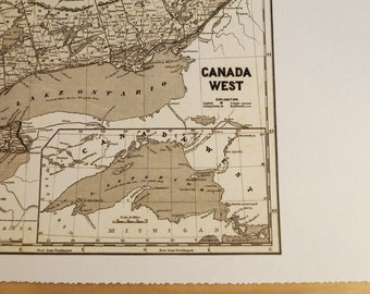 Old map of Southern Ontario antique map print on eco bamboo paper Canadian made in Canada souvenir Ontario Muskoka Manitoulin Lake Ontario