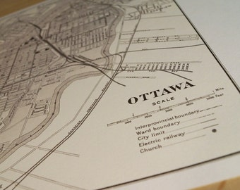 Old map of Ottawa antique map print on eco bamboo paper Canadian made in Canada souvenir Ontario YOW Capital Parliament Hill