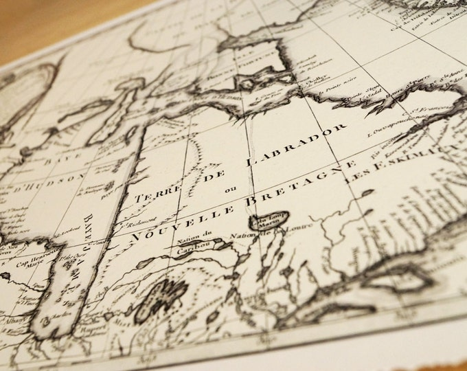 Antique Map Print of Hudson Bay Canada eco paper Northern Lights Made in Canada Polar Bear Snow Ice North Great White North Iceberg