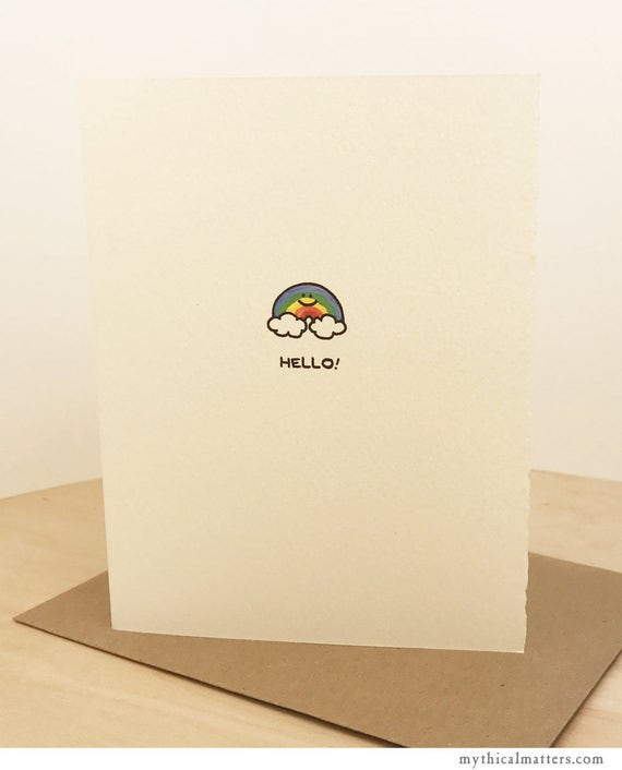 Hello Rainbow Cute Happy Cloud Sky Nature Sweet Fun Friend Adorable Made in Canada Toronto Wholesale Stationery