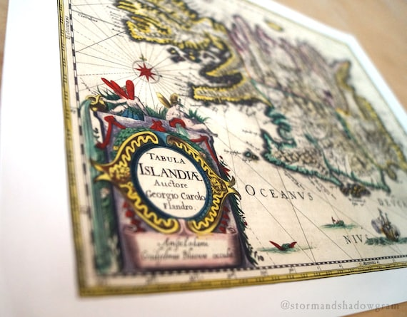 """Iceland Antique Map Print on eco bamboo paper made in Canada 11"""" x 17"""" & 8.5"""" x 11"""" latin history world island Reykjavík Norse Scandinavian"""