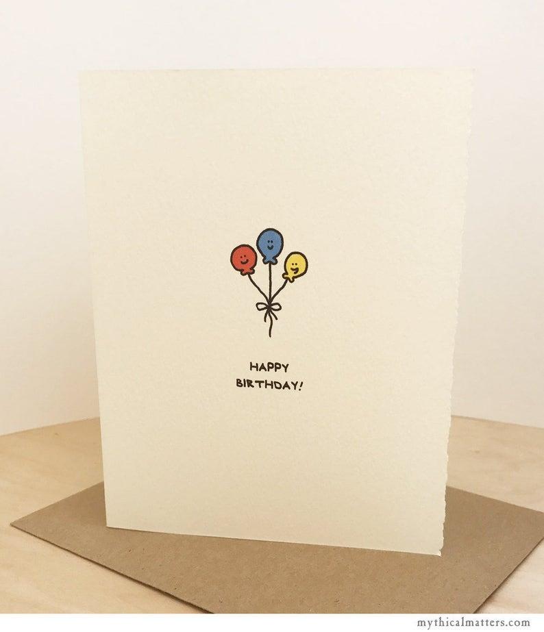 Happy Birthday Balloons Greeting Card Cute Adorable Kawaii