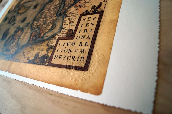 """Scandinavia And Arctic Circle - Antique Map Print on Eco Bamboo paper with textured edge - Made in Canada! 11"""" x 17"""" & 8.5"""" x 11"""" latin"""