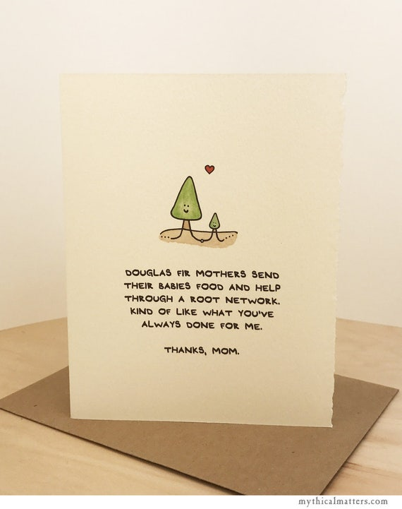Mother's Day Card Cute Wishes Nature Trees Douglas Fir Sweet for Her Mom Funny Adorable Made in Canada Toronto Wholesale Science Facts