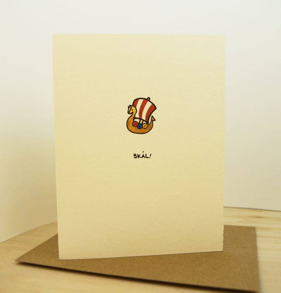Skal! Viking Greeting Card Cute Adorable Kawaii ship sailing cheers paper textured made in Canada made in Toronto