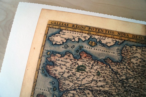 """France - Antique Map Print on Eco Bamboo paper with textured edge - Made in Canada! 8.5"""" x 11"""" & 11"""" x 17"""""""