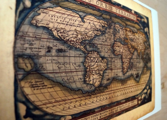 """World - Antique Map Print on Eco Bamboo paper with textured edge - Made in Canada! 11"""" x 17"""" 8.5 x 11"""""""