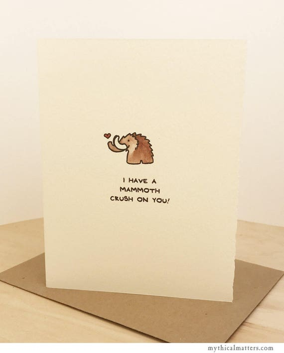 Love Card Cute Mammoth Wishes Nice Sweet Crush Funny Adorable Made in Canada Toronto Wholesale Romance Paleontology enfrancais
