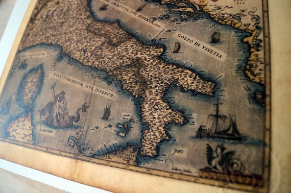 """Italy - Antique Map Print on Eco Bamboo paper with textured edge - Made in Canada! 8.5"""" x 11"""" & 11"""" x 17"""""""